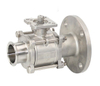 3PC Stainless Steel Clamp Flange Ball Valve with Pad
