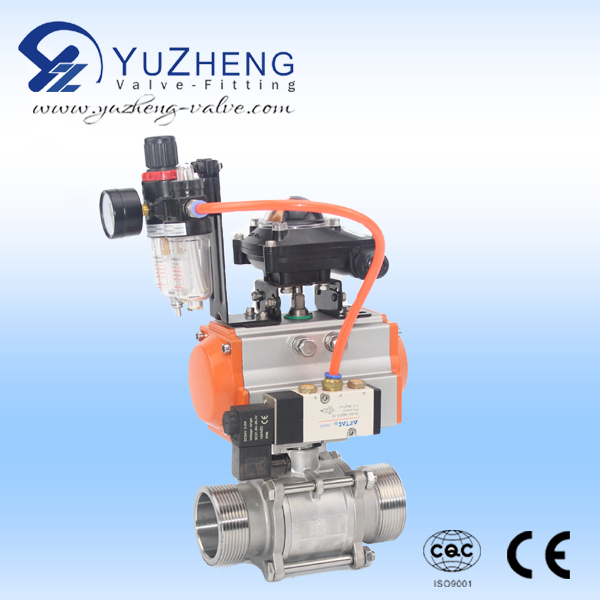 3PC Stainless Steel Thread Ball Valve With Actuator